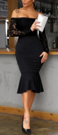 Black  Lace Long Sleeves Off Shoulder Bodycon  Mermaid Ruffle Midi Dress