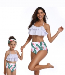 Girls Swimwear Lotus Leaf Edge Flower Print Bikini Set Family Matching Swimsuit
