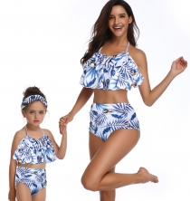 Girls Swimwear Lotus Leaf Edge Leaves Print Family Matching Bathing Suit