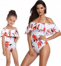Liliumlongflorum Lotus Leaf Edge Family Matching Swimwear Girl One Piece Swimsuit