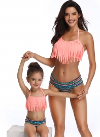 Pink Fringed Bikni Set Family Matching Swimsuit Girls Bathing Suit