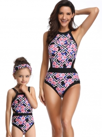 Geometric Flower Print Family Matching Swimsuit One Piece Girl Swimwear