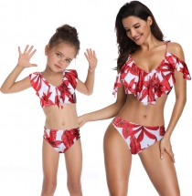 Red   Printed Girl Swimsuit Low-neck Bikini Set Family Matching Swimwear