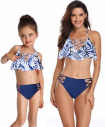 Braided Rope Blue Girl Bikini Set Family Matching Bathing Suit