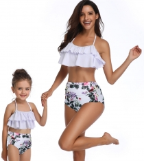 Flower Print 2 Pieces Girls Swimwear Lotus Leaf Edge Family Matching Bikini Set Swim Suit