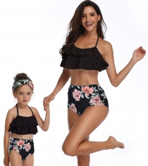 Black Flower Print Girl Swimwear Bikini Set Mommy and Me Swimsuit