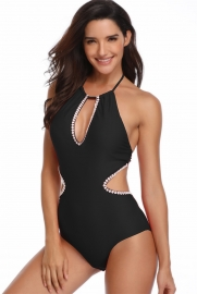Solid Black Girl Bathing Suit One Piece Hommack Hammock Sexy Swimwear
