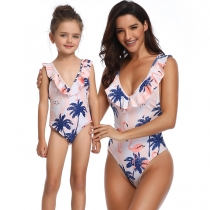 Pink Flamingo Girls Swimwear Family Matching Swimsuit