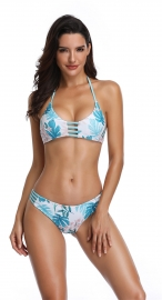 Blue Hommack Monstera Swimsuit Two Pieces Girl Bathing Suit
