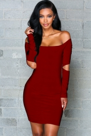 Women's Fashion Stretchy Off Shoulder Slim Bodycon Dress Red