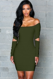 Women's Fashion Stretchy Off Shoulder Slim Army Green Bodycon Dress