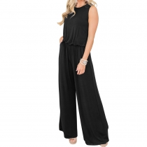 Sleeveless Black Wide Leg Jumpsuit Woman Romper with Pockets