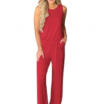 Sleeveless Red Wide Leg Jumpsuit Woman Romper with Pockets