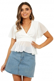 Chiffon V neck Ruffed White Swiss Dot Woman Blouse Top