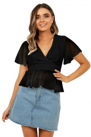 Chiffon V neck Ruffed Black Swiss Dot Woman Blouse Top