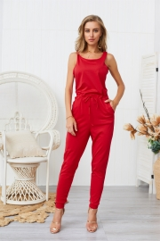 Woman Casual Sleeveless Solid Jumpsuit Red Romper with Pockets