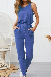 Woman Casual Sleeveless Solid Jumpsuit Blue Romper with Pockets