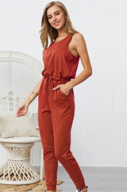 Woman Casual Sleeveless Solid Jumpsuit Orange Romper with Pockets