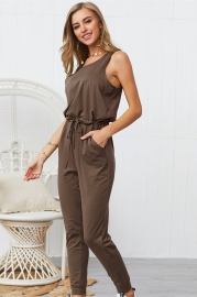 Woman Casual Sleeveless Solid Jumpsuit Brown​ Romper with Pockets