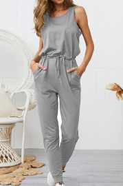 Woman Casual Sleeveless Solid Jumpsuit Grey Romper with Pockets