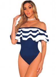 Dark Blue One pieces  Ruffles Striped Swimwears