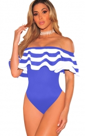 Blue  One piece  Striped Monokinis