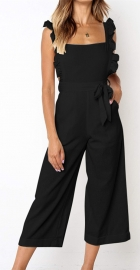 Solid Black Pit Cotton O-neck Women's Pantsuit