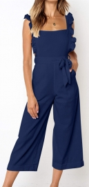 Solid Navy Blue Bowknot Women's Loose Pantsuit