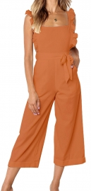 Solid Orange Bowknot Women's Loose Pantsuit