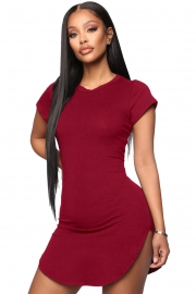 Women Bodycon Dress Wine Red Sexy Tight Irregular Hem Short Sleeve Mini T-Shirt Dress