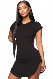 Women Bodycon Dress Black Sexy Tight Irregular Hem Short Sleeve Mini T-Shirt Dress