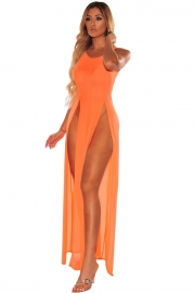 Fashion Design Chiffon Orange Beachwear Summer Solid Color Beach Cover up Dress