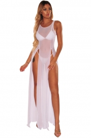 Fashion Design Chiffon White Beachwear Summer Solid Color Beach Cover up Dress
