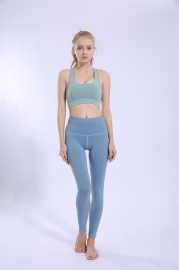 Solid Light Blue Women Sport Yoga Pants Leggings