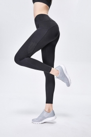 Solid Black Women Mesh Splicing Sport Yoga Pants  with Pocket  High-waist Leggings