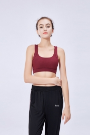Wine Red Sports Bra Gathered Yoga Fitness Beauty Back Vest-Style Sports Women Bra