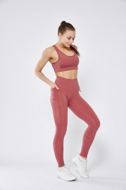 Pink Stitching Pocket Yoga Pants Double-Sided Nylon High-Elastic Tight-Fitting High-Waist Fitness Women Pants