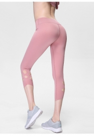 Light Pink High-Waist Cropped Yoga Pants Shredded Sportss Women Pants