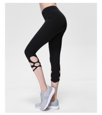 Black High-Waist Cropped Yoga Pants Shredded Sportss Women Pants