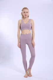 Purple Running Sports Fitness Pants Tight Stretch High Waist Breathable Yoga Pants