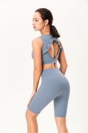 Blue Double-Sided Sanding Nude Yoga Five-Pants Women High-Waist Hip Fitness Pants Tight Yoga Pants