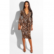 Leopard Printing With Zip In Front Bodycon Dress