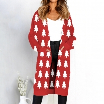women long sleeve with pocket sweater Cardigan Christmas Tree