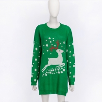 Christmas  Pullover Knitted sweater Deer Snow printed sweaters