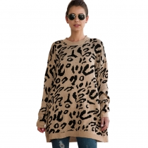 Women Leopard Print winter Pullover Knitted  sweaters Khkai