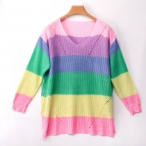 Women Autumn Rainbow color Stripped swaeters Pink