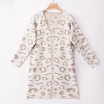 Amazon ebay hot sales Leopard Print Long Cardigan white