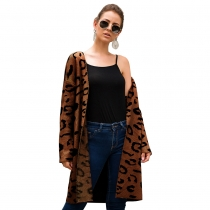 Women Brown Leopard Print Long Cardigan