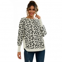 Women Leopard Print Patchwork Block Netted Texture Pullover Sweater White