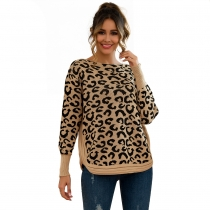 Women Leopard Print Patchwork Block Netted Texture Pullover Sweater Khaki